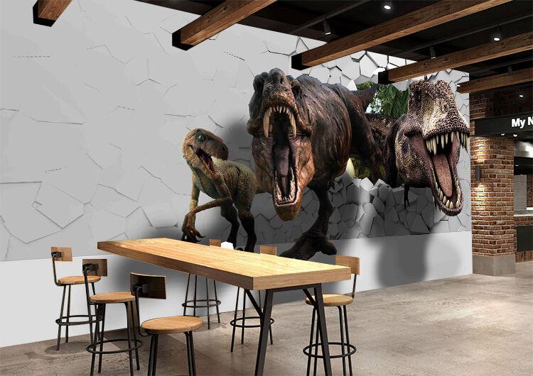3D Fangs Dinosaurs 73 Wallpaper Decal Dercor Home Kids Nursery Mural  Home