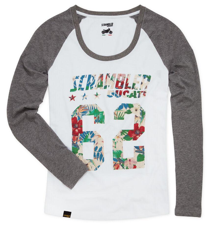 DUCATI interferenzaNverso Hawaiian 62 da Donna Manica lunga T-shirt Top Camicia Lunga LADY NUOVO