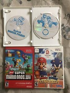 Nintendo-Wii-Games-Lot-4-MarioKart-Super-Mario-Bros-Super-Mario-Paper-amp