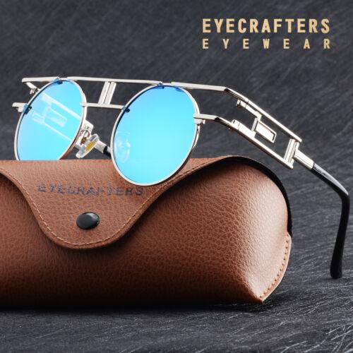 Polarized Vintage Steampunk Sunglasses Fashion Round Mirrored Retro Sunglasses