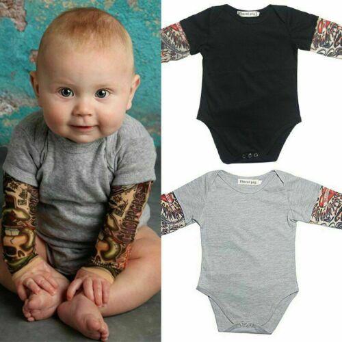 Newborn Baby Girl Boy Romper Jumpsuits Bodysuit Tops Clothes Tattoo Long Sleeve
