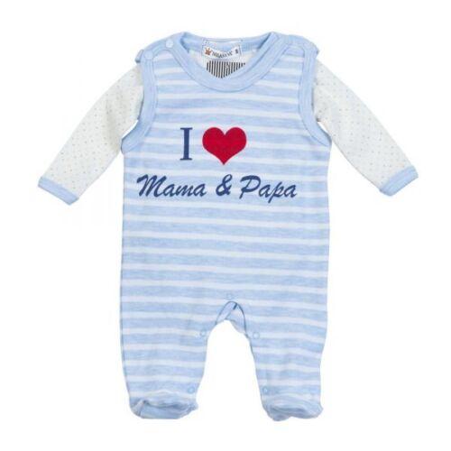 "50-68 Gr weiß-blau Milarda Stramplerset /""I love Mama /& Papa/"""