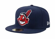 New Era 59Fifty Cap Cleveland Indians Navy Blue Large Face Fitted Wool Hat