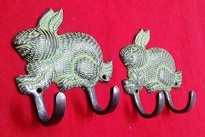 Rabbit-Bunny-Shape-Hook-Brass-Vintage-Style-Clothes-Towel-Set-Of-2-Hook-Hanger
