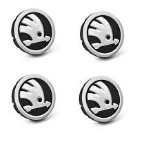 4 x Skoda Silver Alloy Wheel Center Cap Hub Badge Fabia Yeti Octavia 60mm