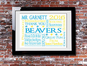 Personalised BEAVERS THANK YOU Picture Print Gift Word Christmas Present Canvas