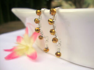 Faceted-Gold-Crystal-Silver-Marquise-Dangle-Earrings-Artisan-Wire