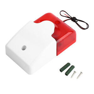 Durable-12V-Wired-Sound-Alarm-Strobe-Flashing-Light-Siren-Home-Security-E-SQ