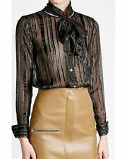 NEW FRAME Silk Chiffon Blouse With Metallic Thread- Black size M $339+