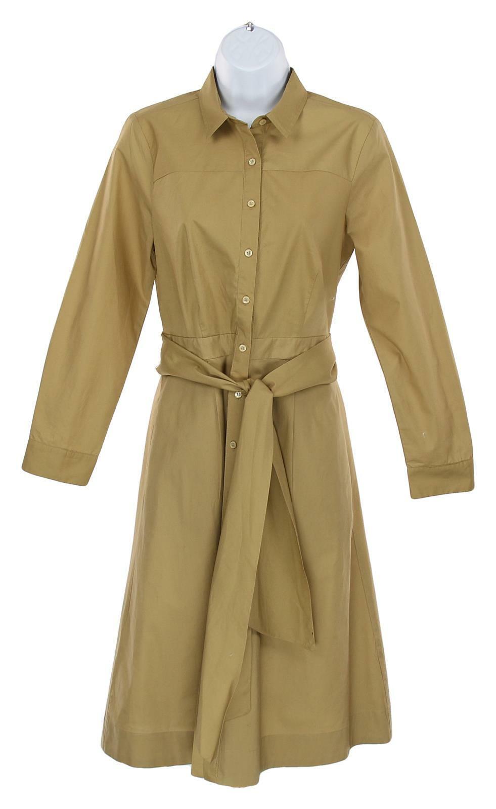 J Crew Women's Tie Waist Shirt Shirt Shirt Dress in Cotton Honey Brown Button 8 J5358 d38083