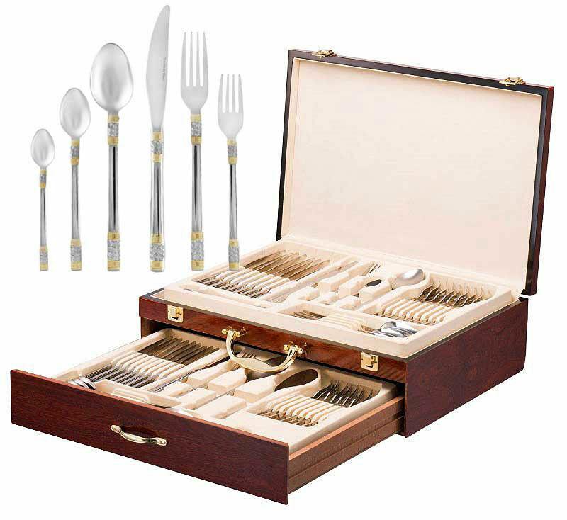 Italian Collection 'Luxor' 75-Pc Premium Flatware Set w  Wooden Storage Case