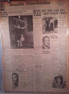 1937 Vintage Newspaper Gone With the Wind Margaret Tallichet Garr Boys Freed