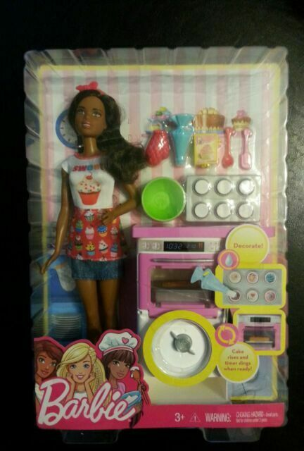 """Barbie /""""You Can Be Anything/"""" Baker Play Set Chef African American Doll NEW w BOX"""
