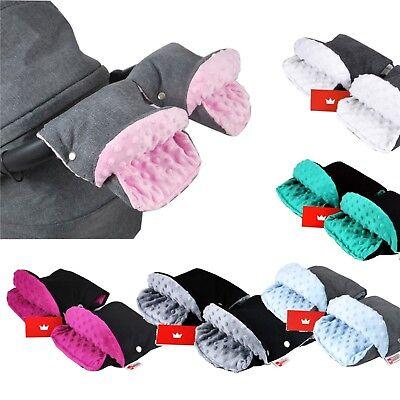 HANDMUFF MUFF Handwärmer Handschuh für Kinderwagen mit LAMMWOLLE HELLGRAU