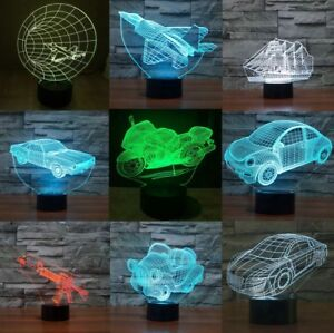 Details about Gun Car 3D LED Acrylic Night Light Touch Switch Desk Lamp  7-color Xmas Gift