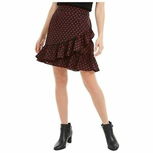 MSRP-60-MAISON-JULES-Womens-Black-Heart-Print-Knee-Length-Ruffled-Skirt-Size-XS