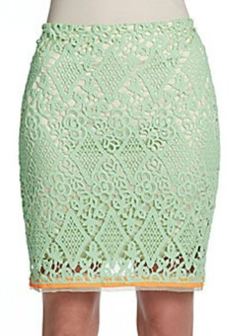 Elie Tahari Bella Crushed Neon Lime Scroll-Lace Pencil Skirt . NWT  Sz.6