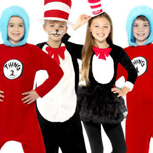 Cat In The Hat Ou Thing 1 & 2 Kids Fancy Dress Dr Seuss Livre Jour Enfant Costume-afficher Le Titre D'origine