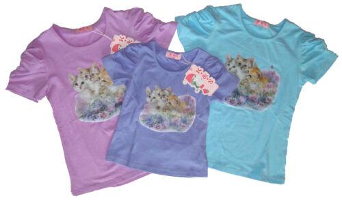 Mädchen kurzarm Shirt Kleinkind T-Shirt mit großem Katzen Motiv Kinder