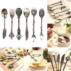 6pcs Vintage Spoon Fork Royal Style Metal Carved Silverware Kitchen