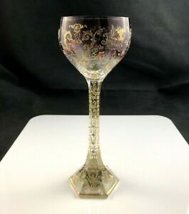 STUNNING-Antique-MOSER-Amethyst-Gold-Enamel-7-7-8-034-Wine-Art-Glass-Ornate-Stem