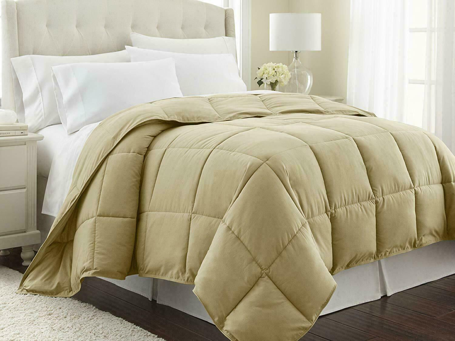 1Piece gold Comforter 100%Cotton 800TC US Size Microfiber Fill Heavy Weight