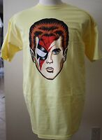 Ziggy Stardust Spiders From Mars Yellow Tee Fury T-shirt Tee Mens Size L Bowie