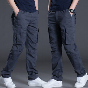 Mens-Cargo-Pants-Casual-Overalls-Trousers-Elastic-Waist-Sports-Work-Cotton-Loose