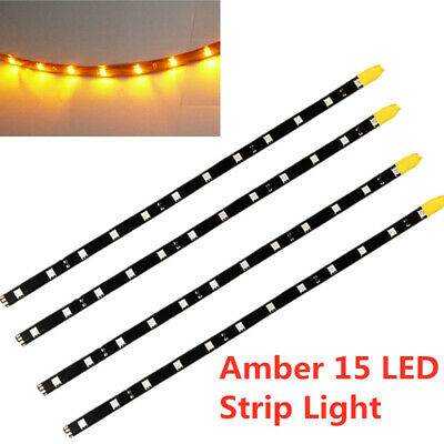 4 X Bright Amber Led Strip Lights 30cm 5050 Smd Flexible