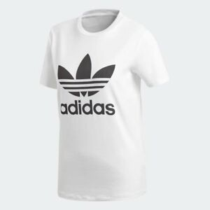 Women-039-s-Adidas-Originals-Trefoil-T-Shirt-White-Black-z-CV9889