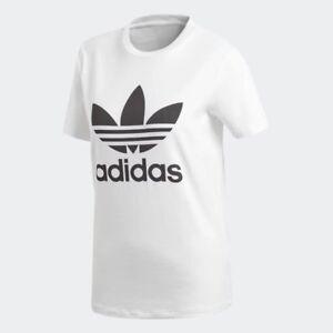 Women-039-s-adidas-Trefoil-T-Shirt-White-Black-z-CV9889