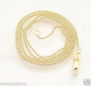 1mm All Shiny Round Bead Ball Chain Necklace Real Solid