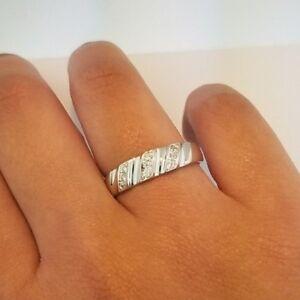 14k Solid White Gold Men S Wedding Band Ring 0 25 Ct Round Cut