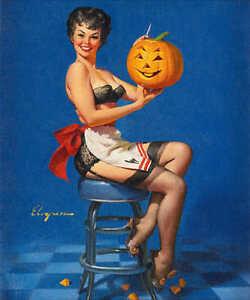 Details About U0027ALL SMILESu0027 1962 ELVGREN VINTAGE PIN UP GIRL HALLOWEEN  POSTER PRINT 24x20 9 MIL