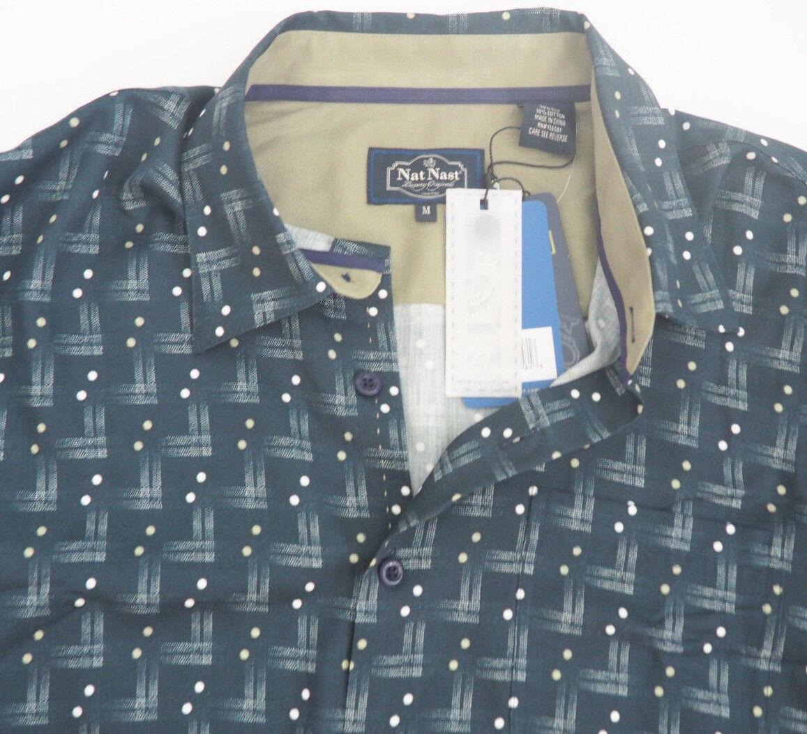 New NAT NAST Navy bluee & Khaki Silk   Cotton Short Sleeve Shirt - Sz M