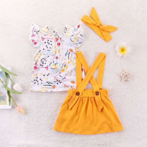 Infant Baby Toddler Girl Clothing Set Solid Overalls Skirt+Tops+Headband Outfit