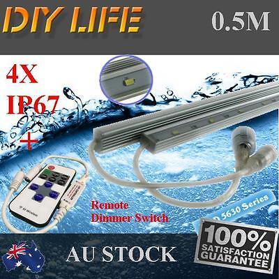 4X12V Waterproof Cool White 5630 Led Strip Lights Bars Camping Boat Car + Remote