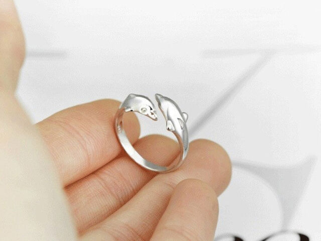 YJ017 Two Dolphins Rings Cute Opening Sterling Fashion Silver Jewelry Gift