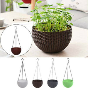 Resin-Rattan-Wall-Hanging-Plant-Pots-Box-Flower-Basket-w-Chain-Garden-Planters
