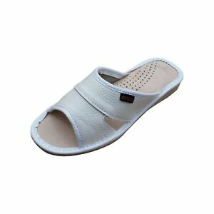 Womens-White-Natural-Leather-Slippers-Sandals-Mules-Beach-White-Size-3-4-5-6-7-8
