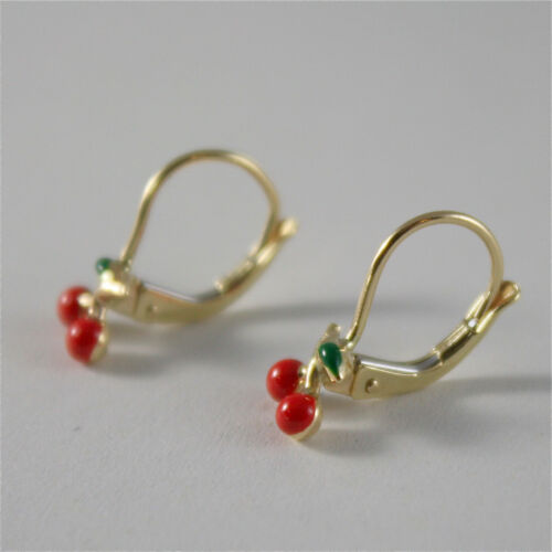 MADE IN ITALY Leverback 18K solide or jaune pendentif boucles d/'oreilles avec Cherry