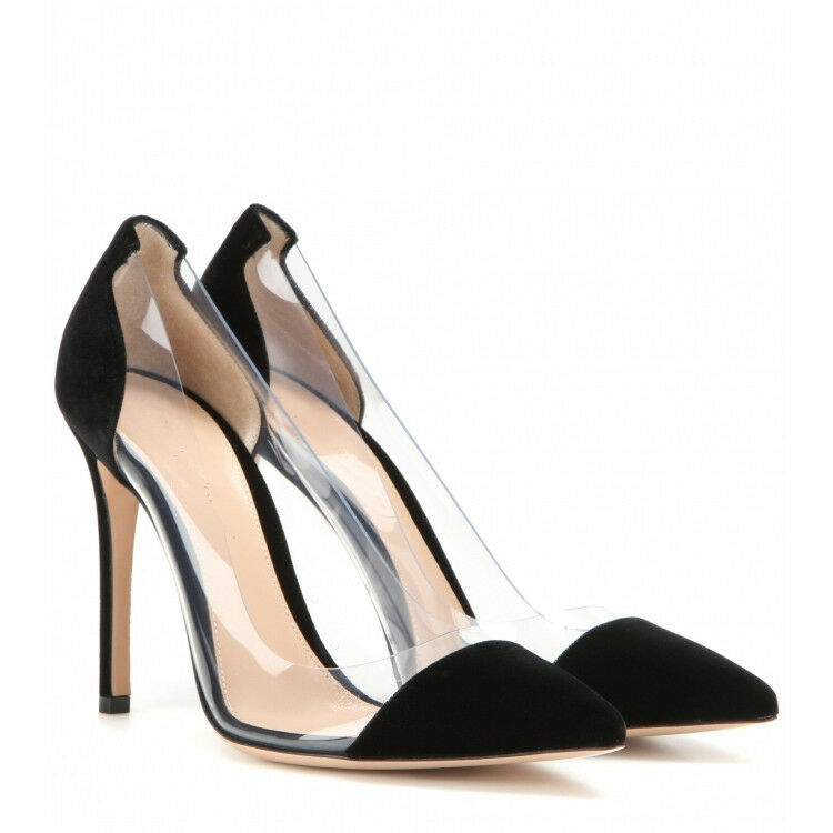 Women Clear Stiletto High Heels Transparent shoes Party Prom Suede Toe Pumps