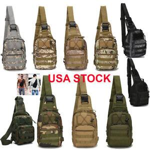 Mens Backpack Molle Tactical Sling Chest Pack Shoulder Bag Outdoor Hiking Travel