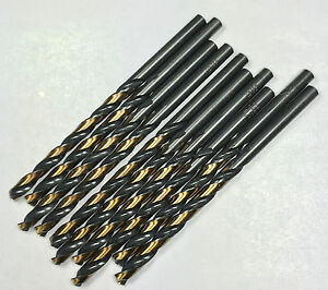 10 PCS 11/64 Industrial Quality HSS Jobber Drill Bits,135 S/Point, Black & Gold
