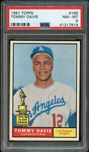 1961-Topps-BB-Card-168-Tommy-Davis-Dodgers-ALL-STAR-ROOKIE-PSA-NM-MT-8