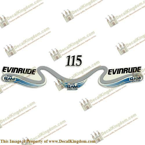 Evinrude 115 Boat Decal Decal Kit - Blau 3M Marine Grade