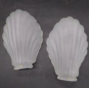 VINTAGE-FROSTED-SATIN-GLASS-SCALLOP-SHELL-WALL-SCONCE-LAMP-SHADE-2-034-fitter-7-034-x3-034
