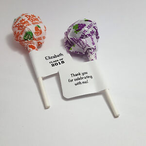60 Personalized Graduation Lollipop Candy Wrappers Favor Labels Stickers Glossy
