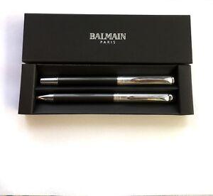 Balmain-Paris-Schreibset-Metall-Graphit-Kuli-Touchpen-mit-Ihrer-Diamant-Gravur