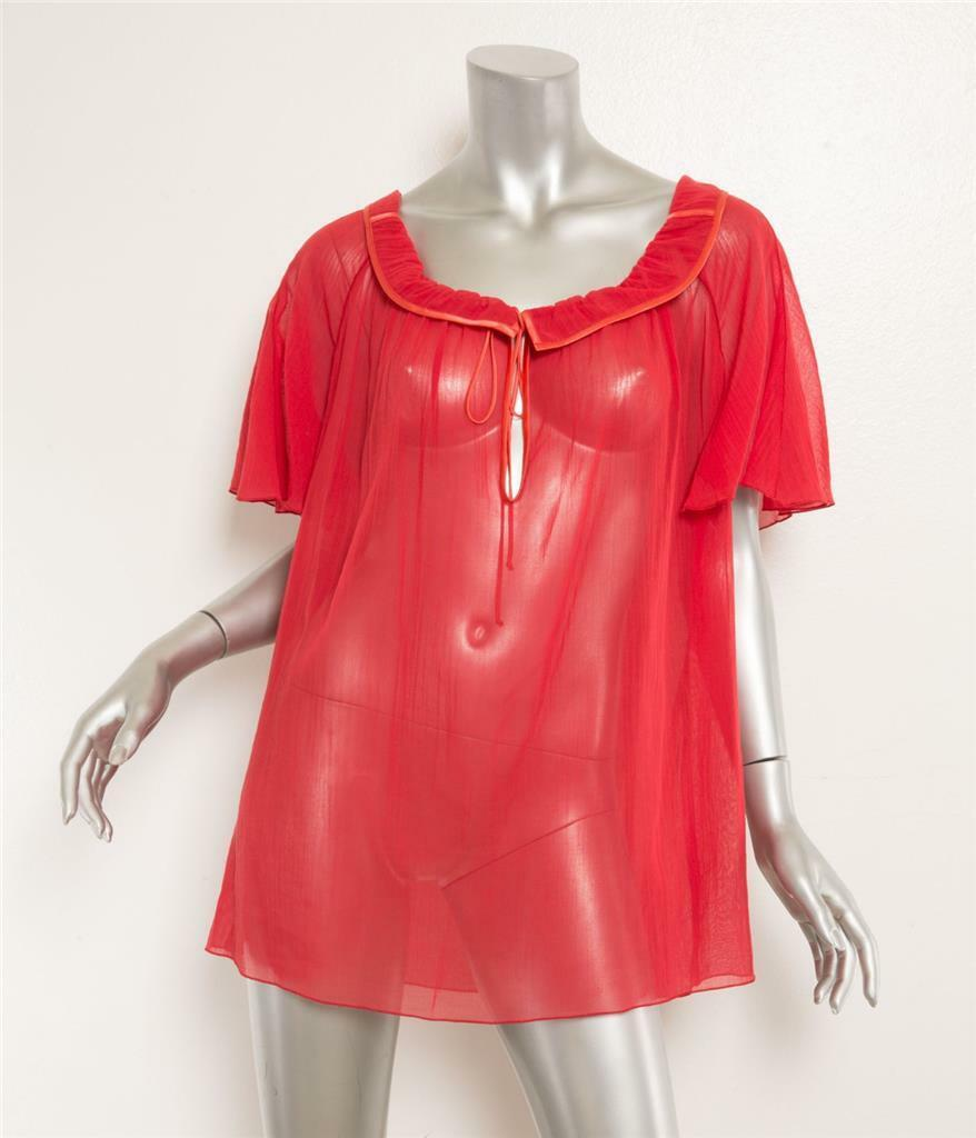 MARC JACOBS rot Babydoll Scoop Neck Drawstring Cap Sleeve Cotton Blouse 4 NEW